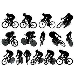 Track cycling silhouettes vector
