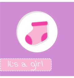 Baby girl sock Shower card vector image