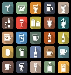 Drink flat icons with long shadow vector