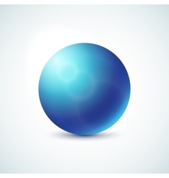 Blue glossy sphere isolated on white vector image