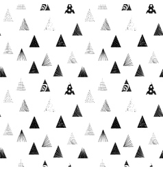 Textured black triangles seamless pattern vector
