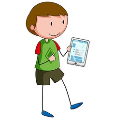 Boy and tablet vector
