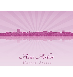 Ann arbor skyline in purple radiant orchid vector