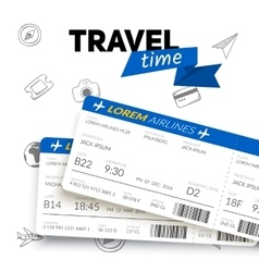 Tickets and travel badge vector