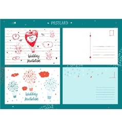 Draw by hand wedding postcards vector