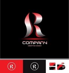 Alphabet letter r silver red logo vector