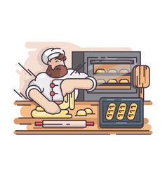 baker kneads and cooking dough vector image vector image