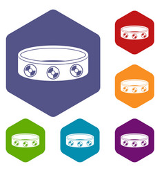 Bracelet with gems icons set hexagon vector