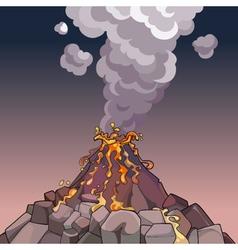 cartoon volcano spewing lava and smoke vector image vector image