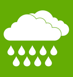 cloud and rain icon green vector image