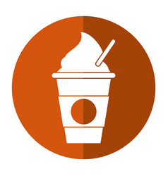 Cold coffee cup portable shadow vector