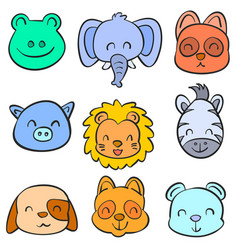 Collection stock animal hand draw doodles vector