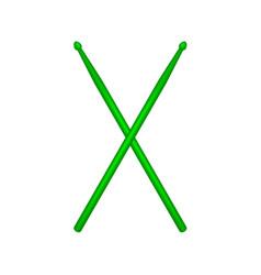 Crossed pair of green wooden drumsticks vector