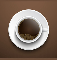 cup of coffee on the table top view vector image