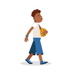 Cute young boy playing basketball cartoon vector