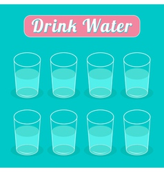 Drink eight glasses of water infographic flat desi vector