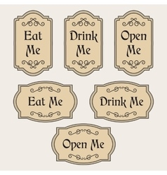 Eat drink open me vintage labels vector