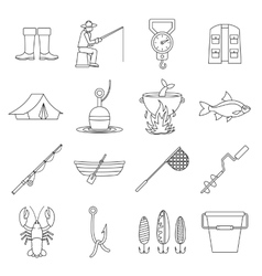 Fishing tools icons set outline style vector