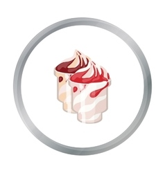 Frozen yogurt with syrup in cups icon in cartoon vector image vector image