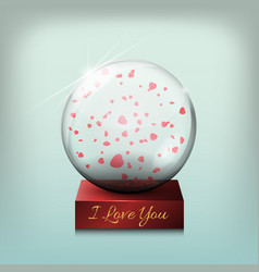 glass transparent ball a gift on valentines day vector image vector image