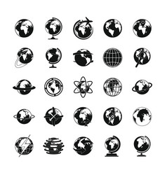 globe earth icons set simple style vector image