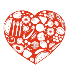 Healthy food heart vector image