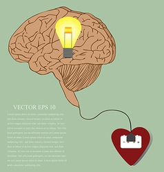 Heart Brain and Idea connected with power plug vector image vector image