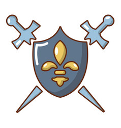 knight shield and swords icon cartoon style vector image