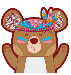 Line color cute bear animal with feathers vector