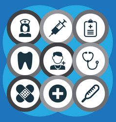 Medicine icons set collection of plus injection vector