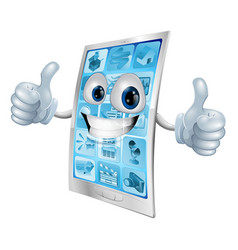 Mobile phone mascot double thumbs up vector