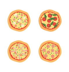 Pizzas with different toppings including vector