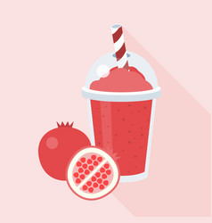 pomegranate smoothie with piece of pomegranate vector image vector image
