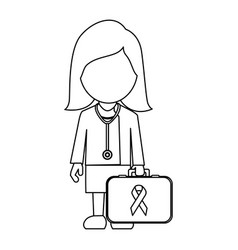 Professional lady-doctor with emergency briefcase vector