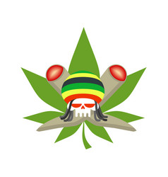 rasta logo rastafarian hat and skull joint or vector image