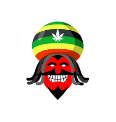 Rastaman devil rasta cap and dreadlocks satan for vector