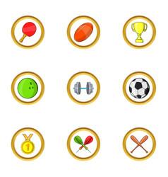 Sport icon set cartoon style vector