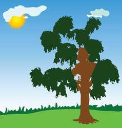 tree with green leave vector image