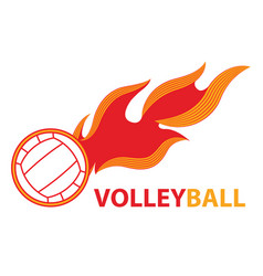 volleyball sport comet fire tail flying logo vector image vector image