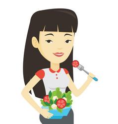 woman eating healthy vegetable salad vector image vector image
