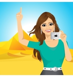 Woman taking a picture vector