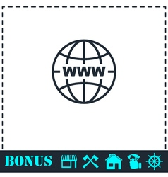 World wide web icon flat vector