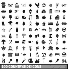 100 countryside icons set simple style vector