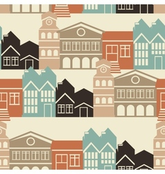 Seamless pattern with houses and buildings vector