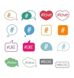 Hashtag flat icons set vector image