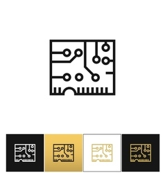 Electronics computer circuit chip icon vector