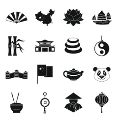 China travel symbols icons set simple style vector