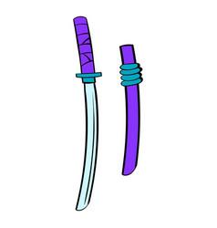 katana icon cartoon vector image