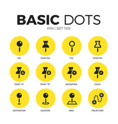 Pin flat icons set vector