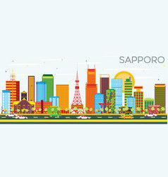 Sapporo skyline with color buildings and blue sky vector